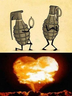 Cartoon of one grenade proposing to another and explosion