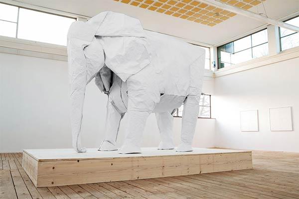 Life-sized origami elephant