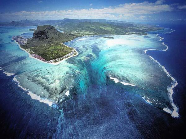 Underwater waterfall in Mauritius