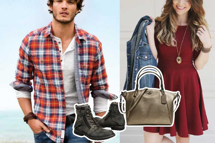 Male model in plaid shirt and female model in skater dress