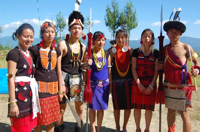 Students representing different Naga tribes