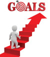 Walking up an arrow ladder to your goal.