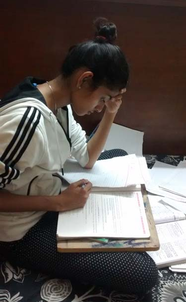 Female student with study material