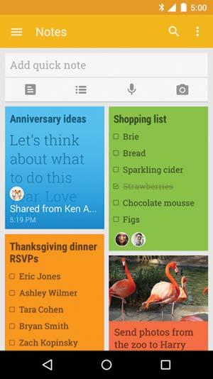 Google Keep app screenshot