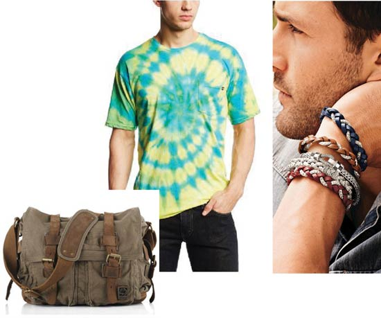 Messenger bag, tie-dye shirt, leather bracelets