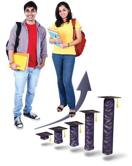 Students standing near education graph