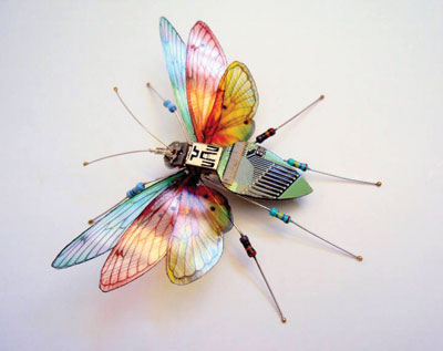 Butterfly made out of discarded electronics