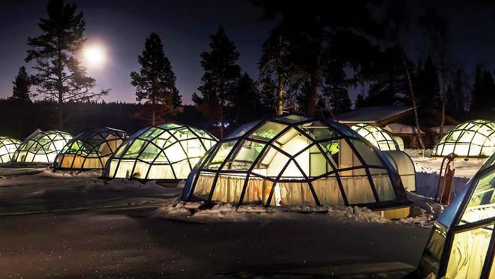 Glass igloos at Kakslauttanen Arctic Resort