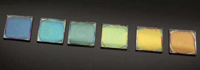 Solar cells in different colors