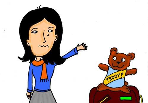 Girl saying goodbye to teddy bear