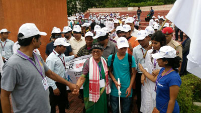 Participants and volunteers at the Guwahati Blind Walk 2016