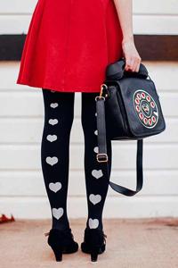 Heart print stockings