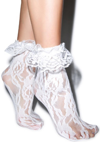 White lace edge socks