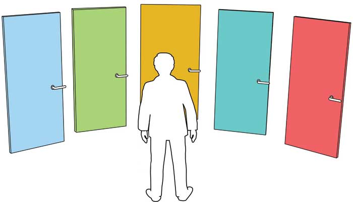 Man choosing between doors symbolizing choices and opportunities