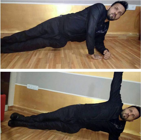 Fitness trainer Prem Mehta demonstrating the side plank