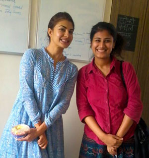 Pallavi with actress Jacqueline Fernandez whom she has taught Hindi to.