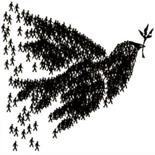 People forming peace dove