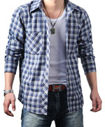 Guy wearing plaid shirt, jeans and tee