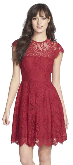 Lace dress in Marsala colour