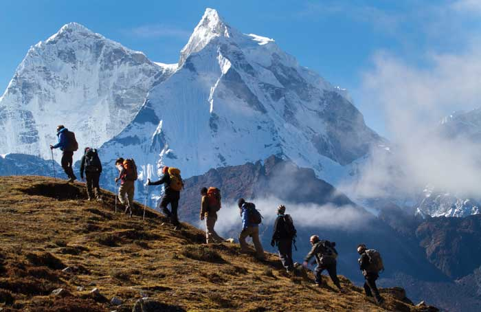 Mountain climbers going up a mountain