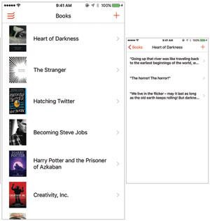 Shelf note-taking app screenshot