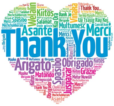 Heart with thank you written in different languages