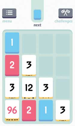 Threes puzzle app screenshot