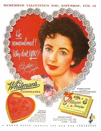 Valentine's Day advertisement featuring Elizabeth Taylor