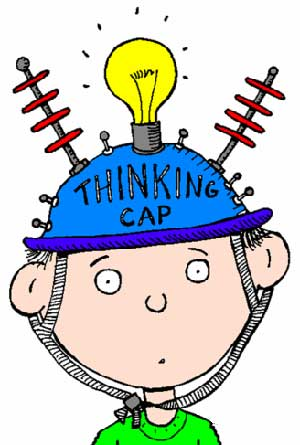Cartoon boy wearing a thinking cap