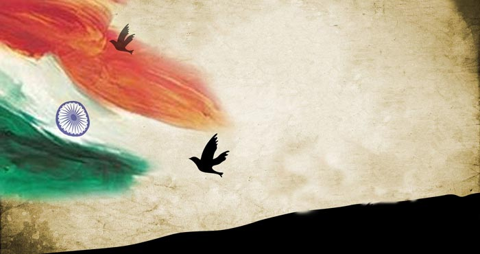 Doves flying past Indian flag