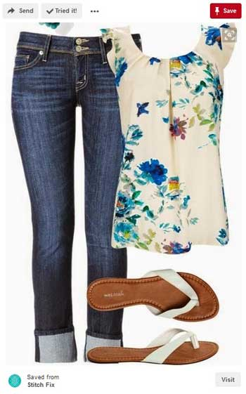 Pin of jeans, top and slippers on Pinterest