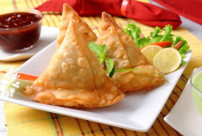 Samosas served on a plate