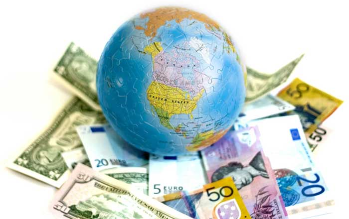 Globe surrounded by dollars and euros