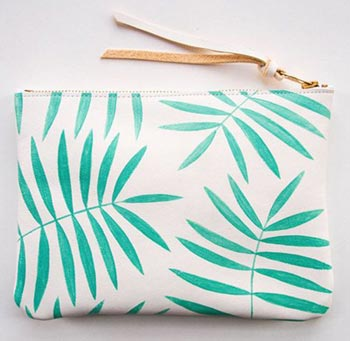 Ladies clutch bag with leaf print