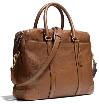 Men's tan handbag