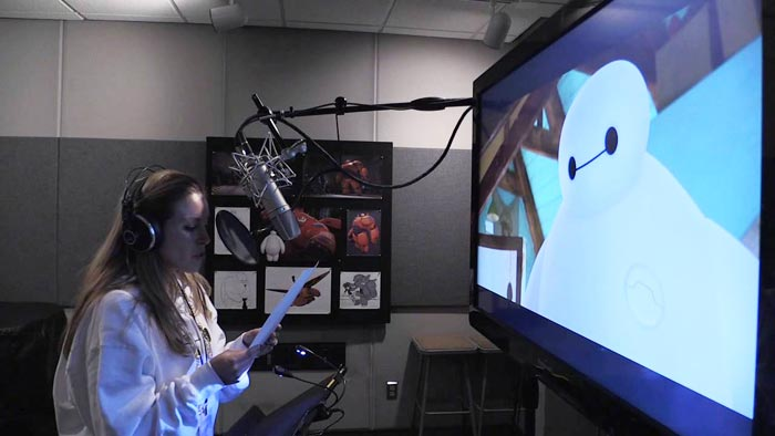 Voice-over artist dubbing for an animated movie