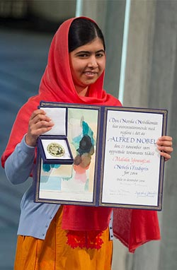 Malala Yousafzai with the 2014 Nobel Peace Prize award