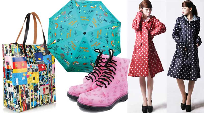 Women wearing raincoats, pink rain boots, umbrella and waterproof bag