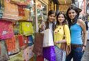 Three girls shopping on the streets