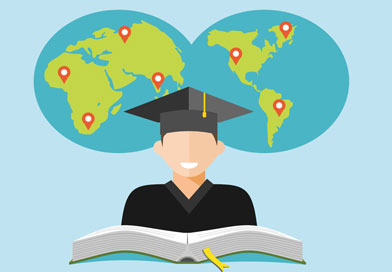 Illustration of graduate student in front of world map