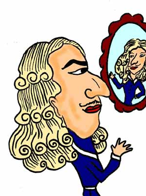 Cartoon of a man wearing a white wig