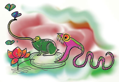 Illustration of snake eating frog eating butterflies