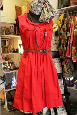 Red dress on sale at street shop