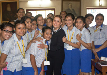 Jilliam Haslam interacting with school students in Kolkata