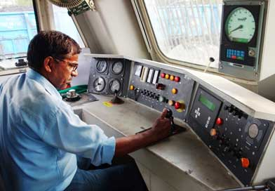 Indian Railways loco pilot at work