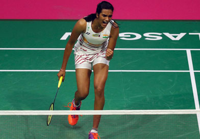 Sindhu celebrates after winning a point