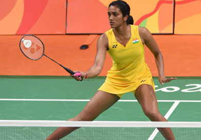PV Sindhu playing at the World Badminton Championships 2017