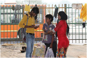 A Balaknama reporter collecting a story