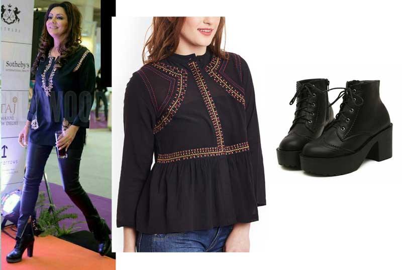 Gauri Khan wearing black leather pants and black ethnic top
