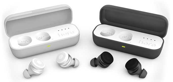 Here One earbuds in grey and white colors